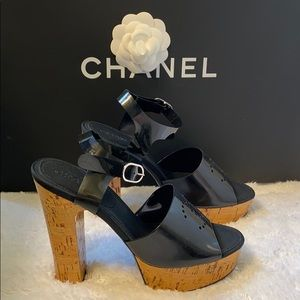 New Chanel logo corkscrew sandals pump high heels